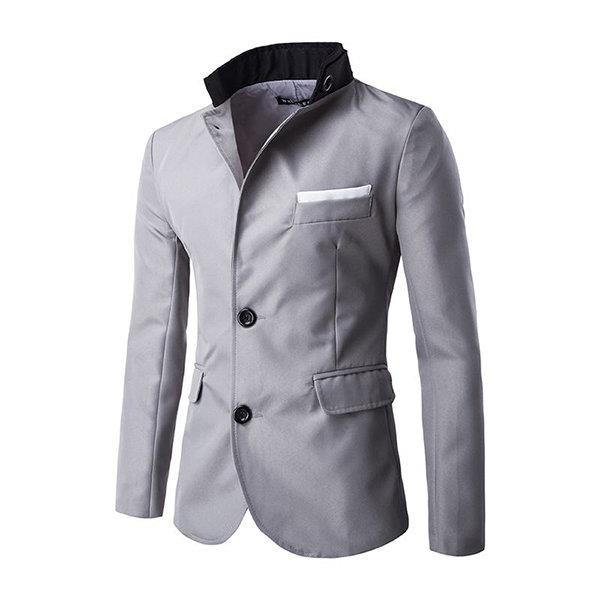 Single Breasted Stand Collar Blazer