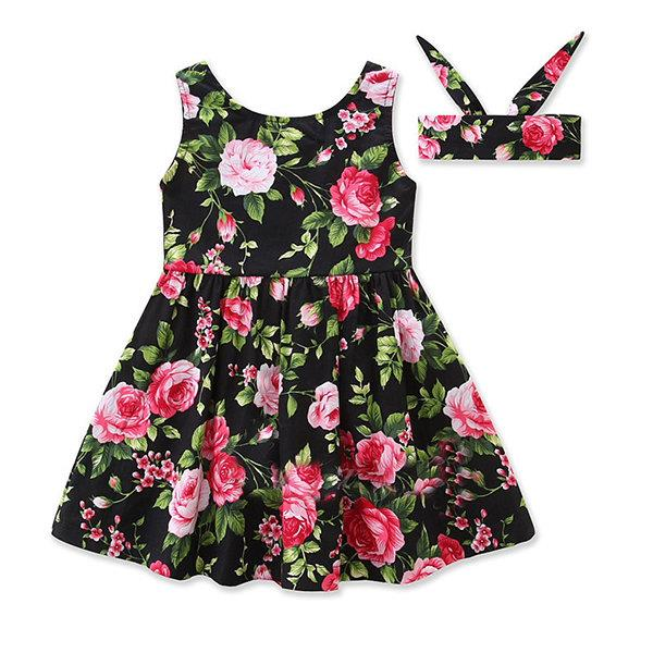 Girl Floral Party Dresses Headband