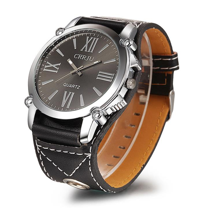 CRRJU Big Dial Leather Watch
