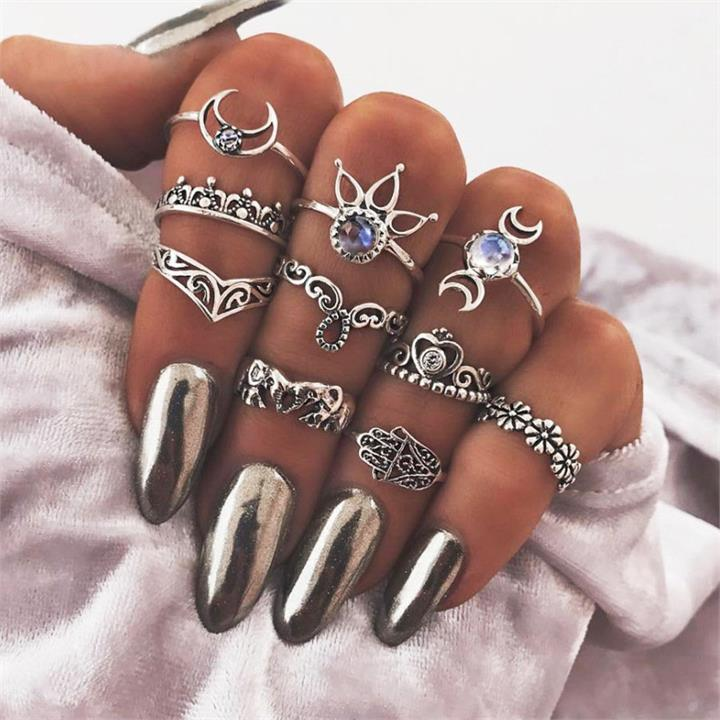 10 Pcs Crystal Ring Set