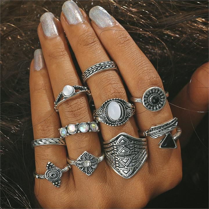 10 Pcs Geometric Ring Set