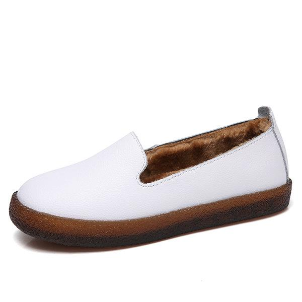 Leather Fur Lining Casual Loafers