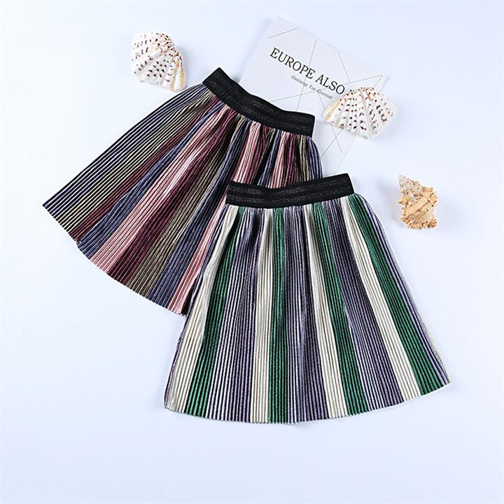 Pleated Girls Striped Skirt