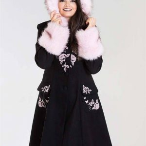 [Special Order] Hell Bunny Anderson Coat – Black/Pink