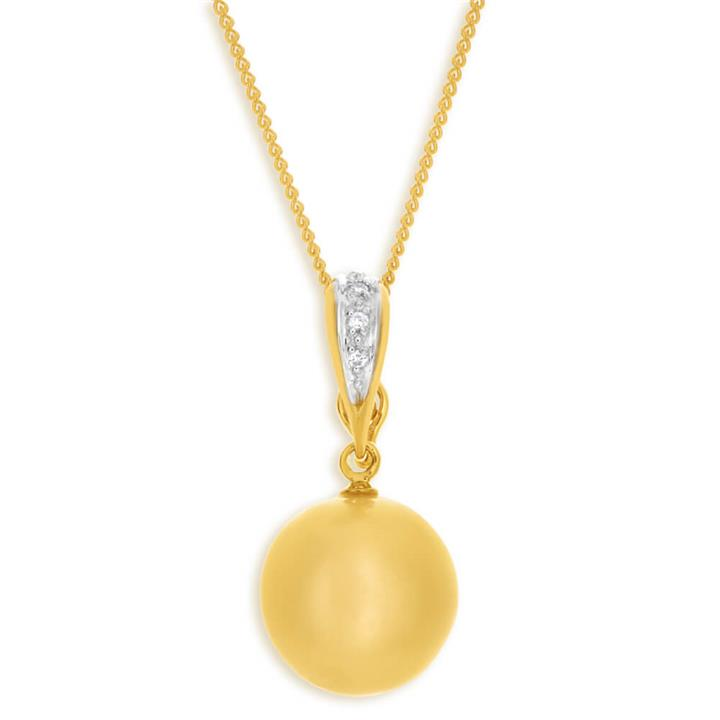 'Bella' 9ct Yellow Gold Cream Golden Pearl Pendant With 45cm Chain