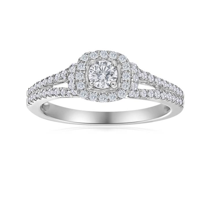 10ct White Gold Ring With 50 Points Of Diamonds