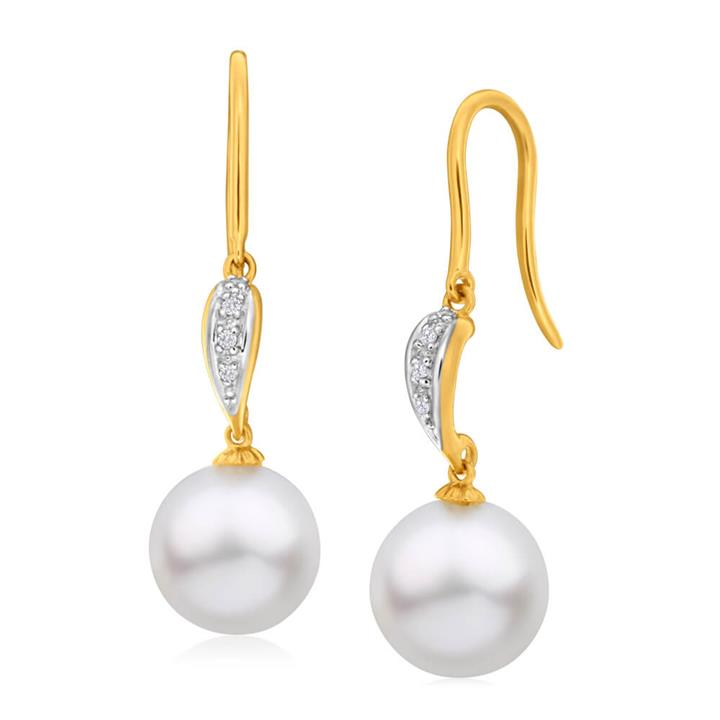 'Pacific' 9ct Yellow Gold White South Sea Pearl & Diamond Drop Earrings