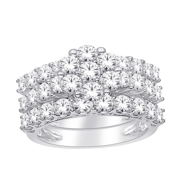 10ct White Gold 3-Ring Bridal Set with 2.00 Carat Brilliant Diamonds