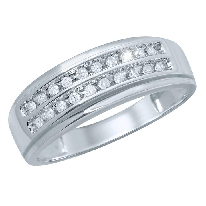 1/4 Carat Diamond Gents Ring in 9ct White Gold