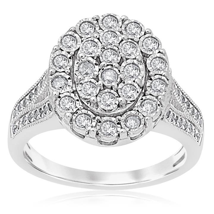 1/2 Carat Diamond Oval Shape Cluster Ring set in Sterling Silver