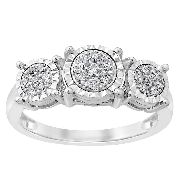 1/4 Carat Diamond Trilogy Ring set in Sterling Silver