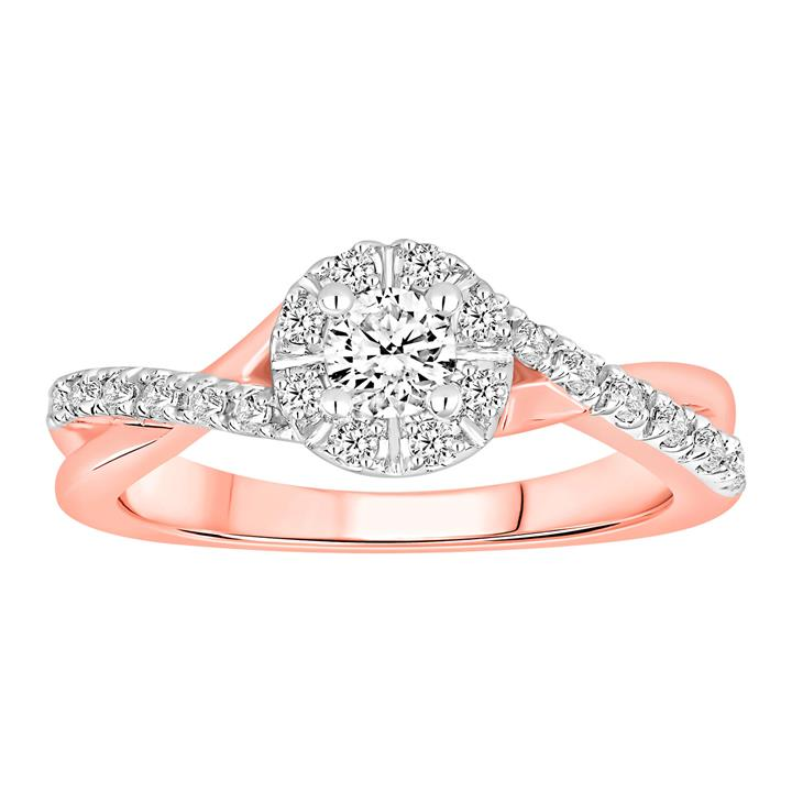10ct Rose Gold Ring With 0.5 Carats Of Diamonds