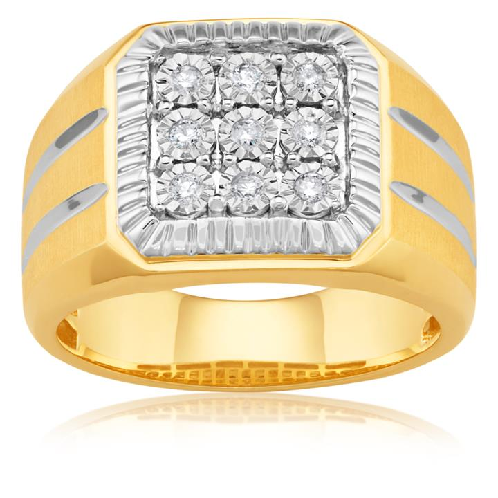 1/4 Carat 10ct Yellow Gold Diamond Ring for Him
