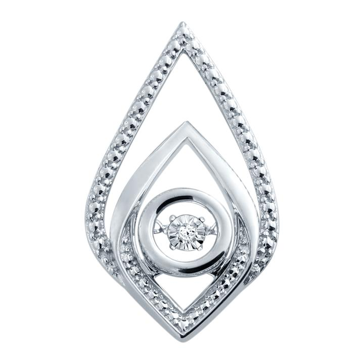 1 Diamond Pendant In Sterling Silver with a 45cm Chain