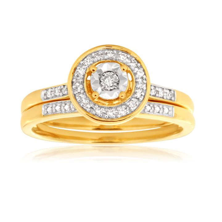 10ct Yellow Gold 2 Ring Bridal Set With 0.10 Carat Of Diamonds