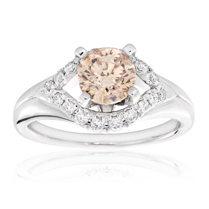 1.10 Carat Solitaire With 0.90 Carat Cognac Centre Stone In 14ct White Gold