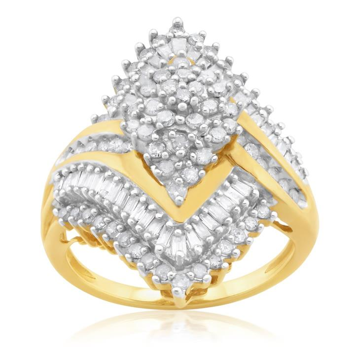 10ct Yellow Gold 1Carat Diamond Ring With Brilliant & Baguette Diamonds