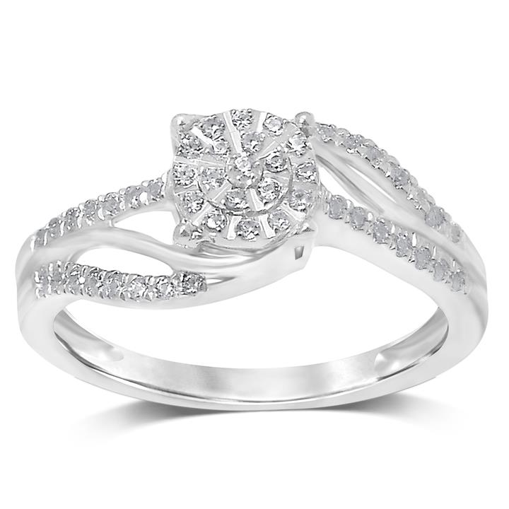 1/4 Carat Diamond Ring set in Sterling Silver