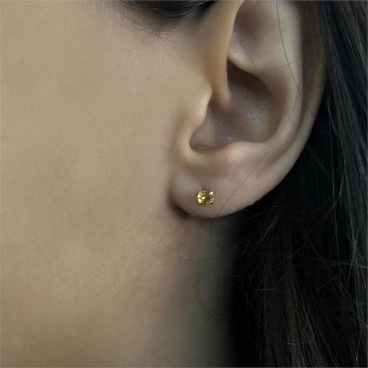 10ct Yellow Gold Citrine 4mm Stud Earrings