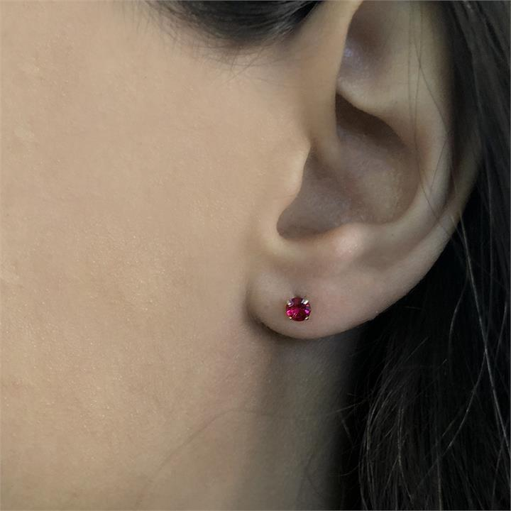 10ct Yellow Gold Created Ruby 4mm Princess Cut Stud Earrings