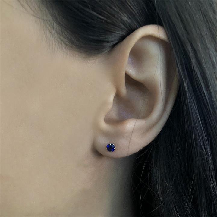 10ct Yellow Gold Created Sapphire 4mm Stud Earrings