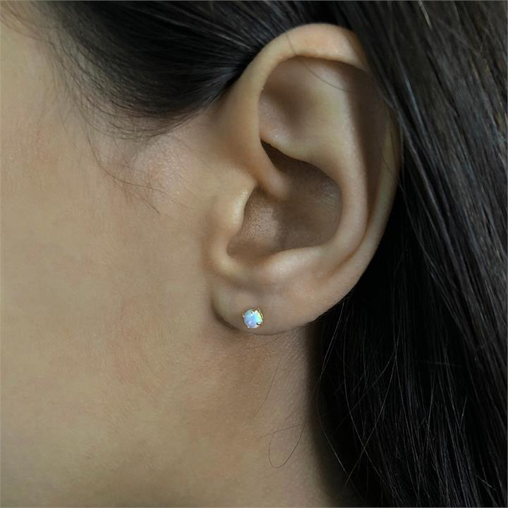 10ct Yellow Gold Created Opal 4mm Stud Earrings