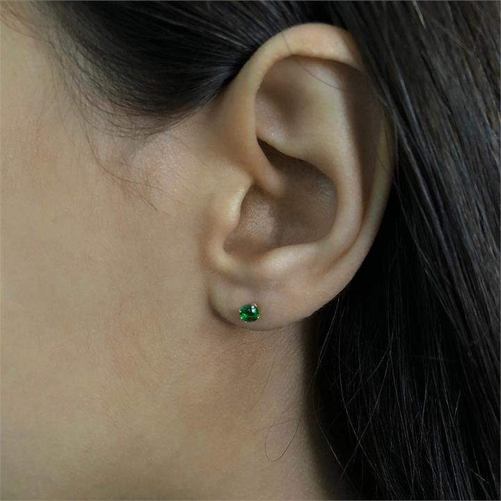 10ct Yellow Gold Created Emerald 4mm Stud Earrings